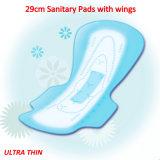 Utilisation de nuit Maxi épais Lady Période cotonneuse serviette hygiénique avec des ailes
