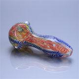 Tubulação colorida da mão da listra da tubulação de vidro da colher da tubulação de fumo da tubulação