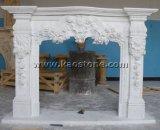 Mensola del camino di marmo bianca naturale poco costosa del camino di Carrara di disegno moderno