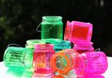 Jarro de vidro suspensos coloridos