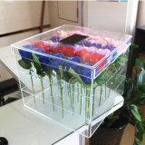 Cadre acrylique clair carré personnalisé de Rose de fleur avec le tiroir
