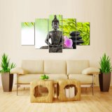 El nuevo art déco moderno caliente de la pared de la pintura de la lona de la decoración del hogar de la pintura del panel HD Buddha de los paneles 5 enmarcó