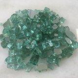 Fuego Fireglass reflectante gránulo de vidrio de color verde