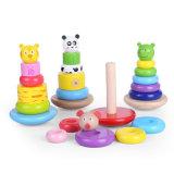 Hölzernes Baby-Ausbildungs-Spielzeug-Tierring-Stapel-Block