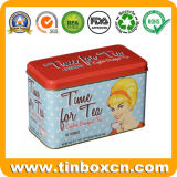 إيرلة مستطيلة كلاسيكيّة رماديّة شاي قصدير علبة لأنّ شاي يعبّئ