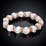 Bijou perlé de bracelet de pierre gemme plaqué par or de Rose de mode