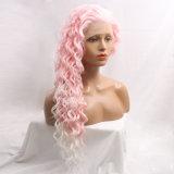 Rose de Dlme Ombre à la perruque synthétique ondulée blanche de cheveu