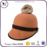 Qualitäts-Form-Wolle-Filz-Winter-Hut für Frauen mit Pelz POM