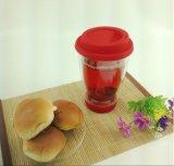 tazza di caffè di vetro di doppio strato 350ml con il coperchio della tazza del silicone per la promozione