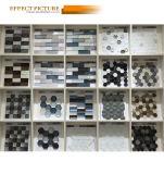 白黒チェッカーボードのガラスモザイク(G423010)