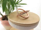 여자를 위한 금에 의하여 도금되는 입방 지르코니아 핑거 기념일 보석 반지