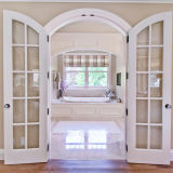 現代デザイン居間のための二重スライドガラスの木製のドア
