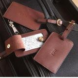 Exuberante personalizado e a qualidade da etiqueta de bagagem em pele genuína