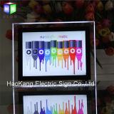 Signe acrylique en cristal de publicité fixé au mur d'étalage de cadre d'éclairage LED de cadre de tableau