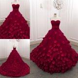 Mit Rüschen besetztes Schatz-rote Handsewn Blatt-langes Dame-Partei-Abend-Kleid