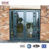 Puerta del aluminio de la entrada de la doble vidriera del diseño de la puerta francesa