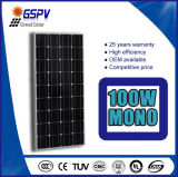 Painel solar do picovolt da fora-Grade 100watt Monocrystalline solar