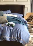 Color liso 100%Algodón 4 PCS Conjunto de ropa de cama (azul).