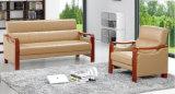 Sofá del cuero de la oficina de la silla del hotel clásico popular del ocio que espera con los apoyabrazos de madera en existencias