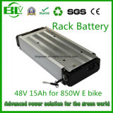 Bateria traseira de Ebike da cremalheira de bloco da bateria do Lítio-Íon de 48V 15ah da fábrica chinesa de OEM/ODM em China com estoque