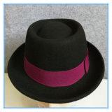 As mulheres de moda Porkpie Fedora chapéu de feltro de lã com tampa de lazer de Fita de estilo nacional