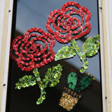 Цветок Rhinestone Sequin вышивка 3D-Patch Crystal валики Applique одежду