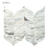 芸術のタイルの灰色の葉形のステンドグラスのモザイク・タイル