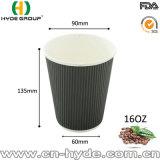 Gewölbtes Papierwegwerfcup für heißes Getränk-/Kräuselung-Wand-Papiercup