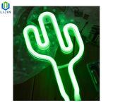 Монтаж на стене творчества неоновых ламп в ночное время кактуса светодиодный индикатор