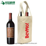 Reusable Cotton Canvas Shopping Tote Wine Bag Two Pack Bottle Wine Bag