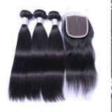 La qualité Topest cheveux raides brésilien de l'extension de cheveux humains