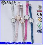 Reloj modificado para requisitos particulares de las señoras del regalo de los cuartos de galón de la correa de cuero (Wy-089D)