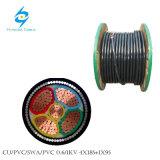 câble d'alimentation de cuivre de la SWA de 0.6/1kv 4X185+95mm2 PVC/PVC