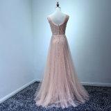 Розовое платье вечера высокого качества шнурка Sequin