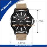 本革ストラップが付いている特別な指標デザイン人の自動腕時計