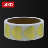 Étiquette d'or de collants de coeur de cercle d'étiquette blanc de collants