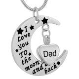 Venda por grosso de aço inoxidável 316L Moon Coração Cremação Colar Urn para Memorial Dad