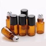 Rouleau de 2ml orange sur le flacon en verre, 2cc flacon échantillon, petite bouteille d'huile essentielle + balle de rouleau de métal