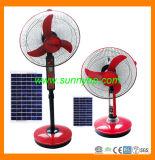Abanico rojo de 1,2 m con una batería con panel solar de 40W