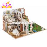 DIY Dollhouses Детский деревянный миниатюрных игрушек со светодиодной лампы W06A346