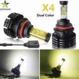 Nuevo Super brillante X4 AUTO LED Bombilla Wholesale 6500K 10000 Lumen Canbus de color dual Fanless H7 H11 H4 Auto faros LED