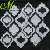 白くおよび黒く優雅なデザイン壁の装飾のためのWaterjetガラスモザイク・タイル