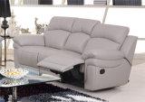 Conjunto grande del sofá del cuero de la talla del color gris claro