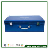 Caixa cosmética de couro azul do plutônio da alta qualidade