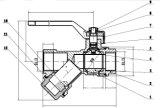 Robinet à tournant sphérique plaqué par laiton personnalisé de Y-Tamis de qualité (AV1047)