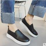 Ботинки плоского вскользь студента шнурка планок Cros женщин неподдельные кожаный
