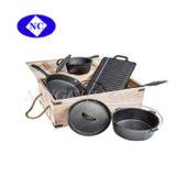 Оптовая торговля деревянные рисованные чугунная посуда для приготовления пищи,