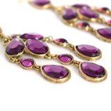 Boucles d'oreille de baisse pourprées de gland de Rhinestone de baisse pour la rampe long Earings de bijou de mode de femmes