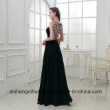 A - линия Пол-Длина застежки -молнии драгоценности отбортовывая шифоновое платье вечера перл