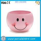 De roze het Glimlachen Kom van het Suikergoed van het Gezicht Zoete